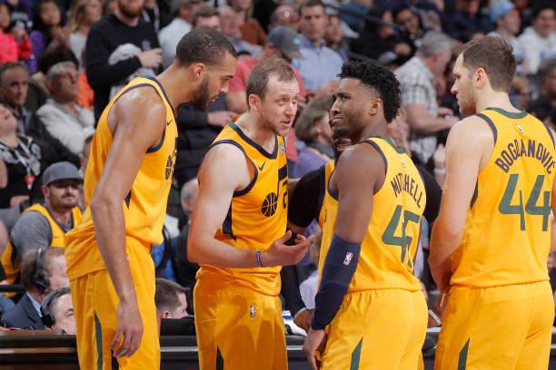 Rudy Gobert, Joe Ingles, Donovan Mitchell and Bojan Bogdanovic of the Utah Jazz talk during the game against the Sacramento Kings on November 1, 2019...