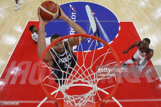 Rudy Gobert of France drives during FIBA World Cup 2019 Quarterfinals match between USA and France at Dongguan Basketball Center on September 11 2019...