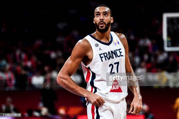 Rudy Gobert of France reacts during the 3rd place games between France and Australia of 2019 FIBA World Cup at the Cadillac Arena on September 15...