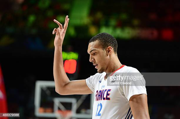 Rudy Gobert of the France National Team calls a play against the Serbia National Team at Palacio de Deportes on September 12 2014 in Madrid Spain...