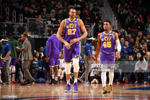 Rudy Gobert of the Utah Jazz and Donovan Mitchell of the Utah Jazz seen on court during the game against the Detroit Pistons on January 5 2019 at...