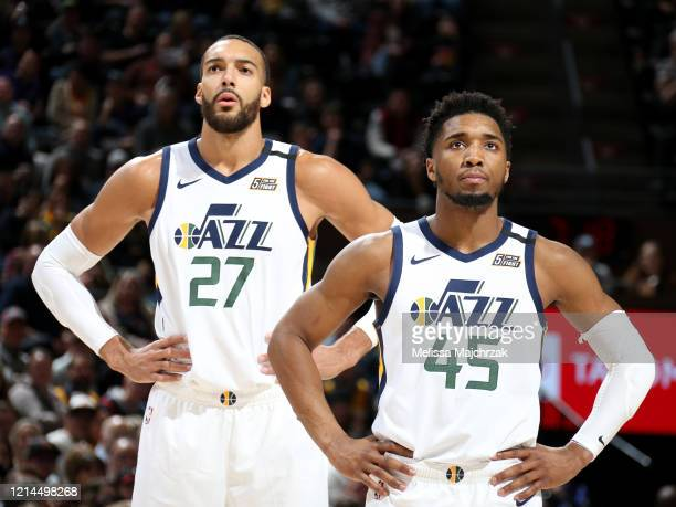 Rudy Gobert of the Utah Jazz and Donovan Mitchell of the Utah Jazz look on during the game against the Washington Wizards on February 28, 2020 at...
