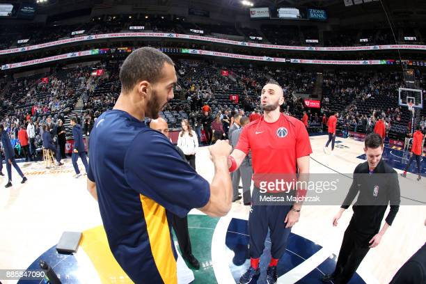 Rudy Gobert of the Utah Jazz and Marcin Gortat of the Washington Wizards before the game on December 4 2017 at Vivint Smart Home Arena in Salt Lake...