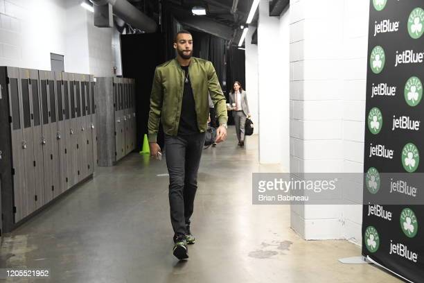 Rudy Gobert of the Utah Jazz arrives before the game against the Boston Celtics on March 6 2020 at the TD Garden in Boston Massachusetts NOTE TO USER...