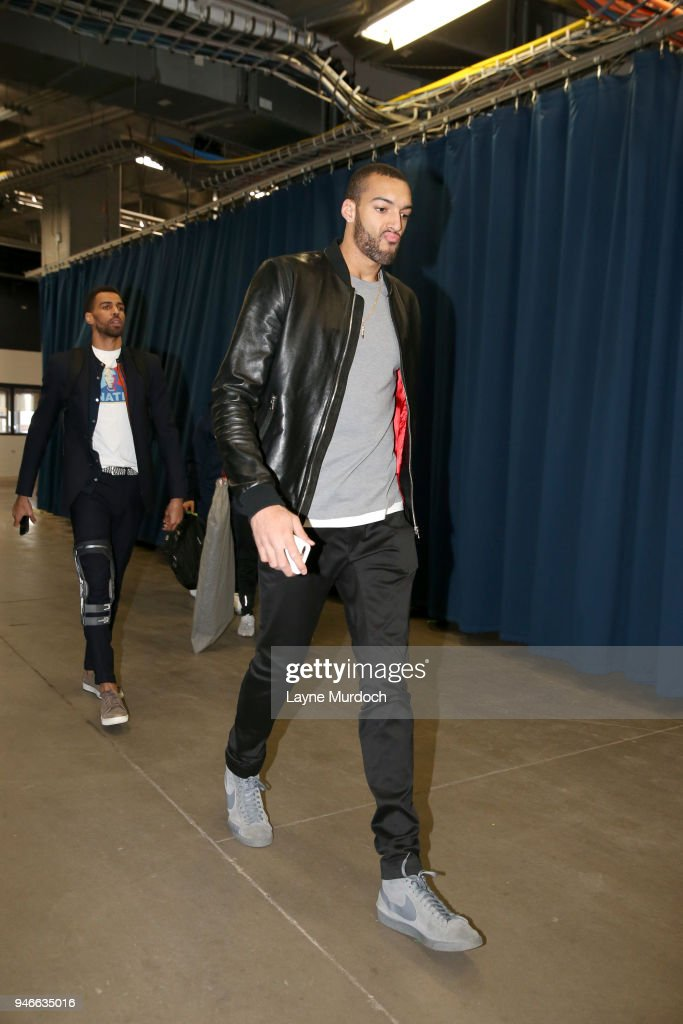 Rudy Gobert #27 of the Utah Jazz arrives before the game against the Oklahoma City Thunder during Game One of Round One of the 2018 NBA Playoffs on April 15, 2018 at Chesapeake Energy Arena in Oklahoma City, Oklahoma.