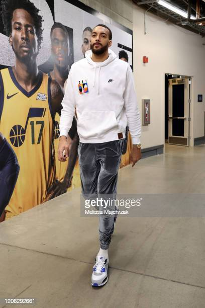 Rudy Gobert of the Utah Jazz arrives to the game against the Toronto Raptors on March 9 2020 at vivintSmartHome Arena in Salt Lake City Utah NOTE TO...