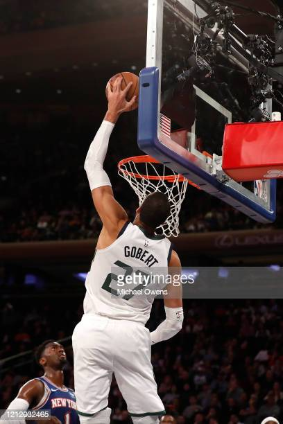 Rudy Gobert of the Utah Jazz attempts a slam dunk during a game against the New York Knicks at Madison Square Garden on March 04 2020 in New York City