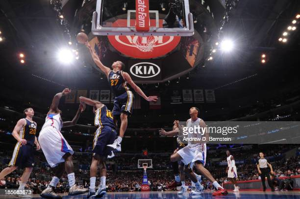 Rudy Gobert of the Utah Jazz blocks a shot against the Los Angeles Clippers at Staples Center on October 23 2013 in Los Angeles California NOTE TO...