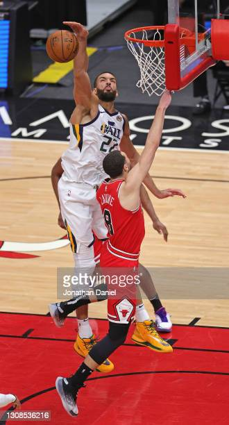 Rudy Gobert of the Utah Jazz blocks a shot by Zach LaVine of the Chicago Bulls at the United Center on March 22, 2021 in Chicago, Illinois. NOTE TO...