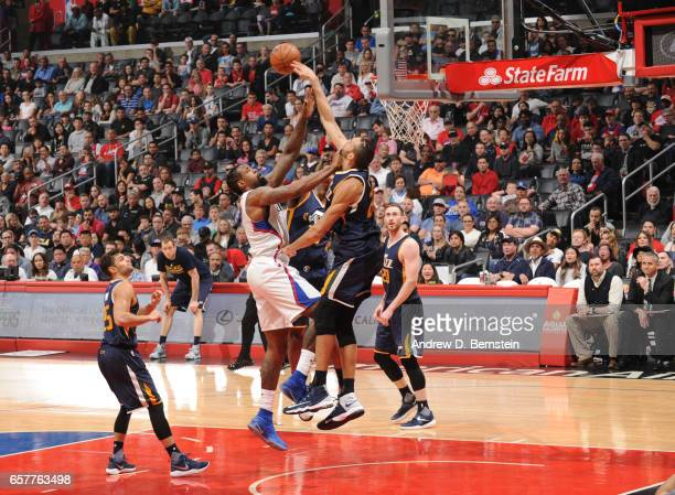 Rudy Gobert of the Utah Jazz blocks a shot during a game against the LA Clippers on March 25 2017 at STAPLES Center in Los Angeles California NOTE TO...