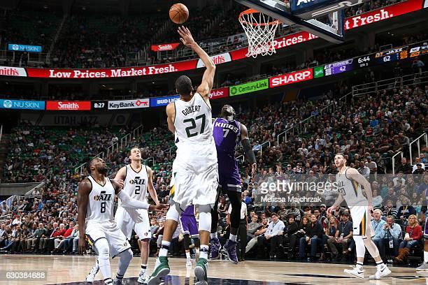 Rudy Gobert of the Utah Jazz blocks the ball against Darren Collison of the Sacramento Kings on December 21 2016 at EnergySolutions Arena in Salt...