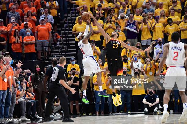 Rudy Gobert of the Utah Jazz blocks the ball to win the game against the LA Clippers during Round 2, Game 1 of the 2021 NBA Playoffs on June 8, 2021...