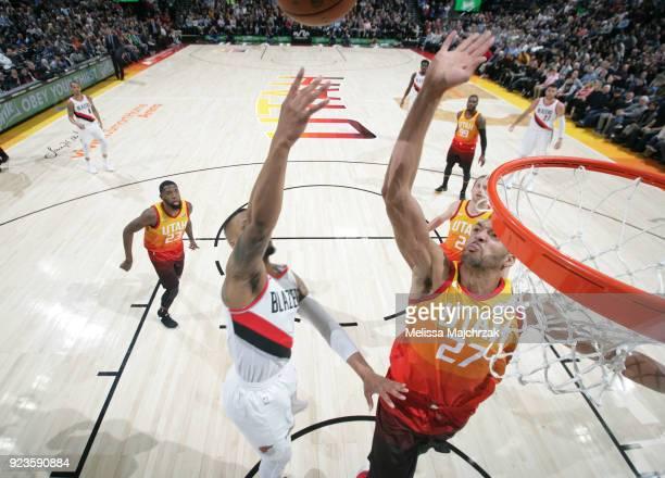 Rudy Gobert of the Utah Jazz blocks the shot against the Portland Trail Blazers on February 23 2018 at vivintSmartHome Arena in Salt Lake City Utah...