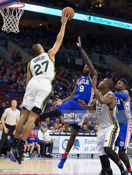 Rudy Gobert of the Utah Jazz blocks the shot of JaKarr Sampson of the Philadelphia 76ers on October 30 2015 at the Wells Fargo Center in Philadelphia...