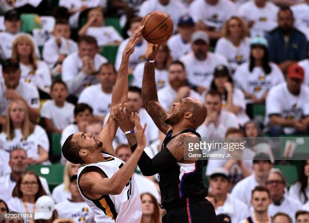 Rudy Gobert of the Utah Jazz blocks this first half shot by Marreese Speights of the Los Angeles Clippers in Game Four of the Western Conference...