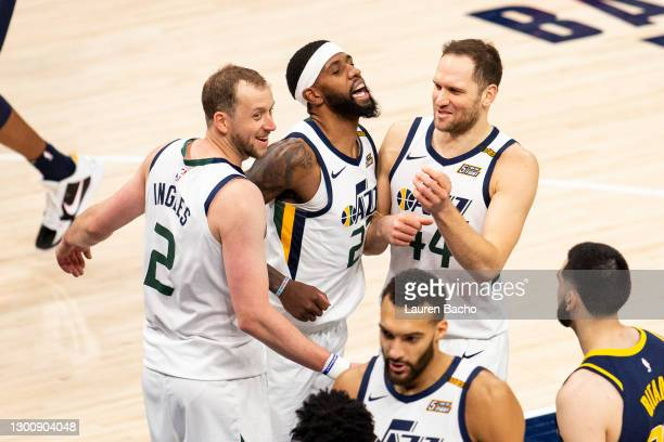 Rudy Gobert of the Utah Jazz, Bojan Bogdanovic of the Utah Jazz and Joe Ingles of the Utah Jazz celebrate after their win over the Indiana Pacers at...