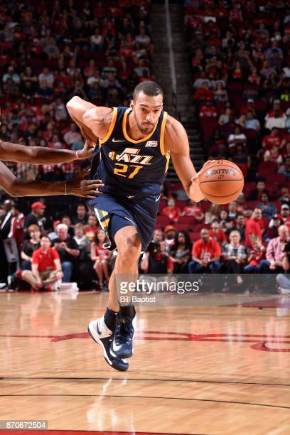 Rudy Gobert of the Utah Jazz brings the ball up court against the Houston Rockets on November 5 2017 at the Toyota Center in Houston Texas NOTE TO...