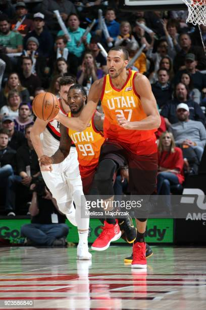 Rudy Gobert of the Utah Jazz brings the ball up court against the Portland Trail Blazers on February 23 2018 at vivintSmartHome Arena in Salt Lake...