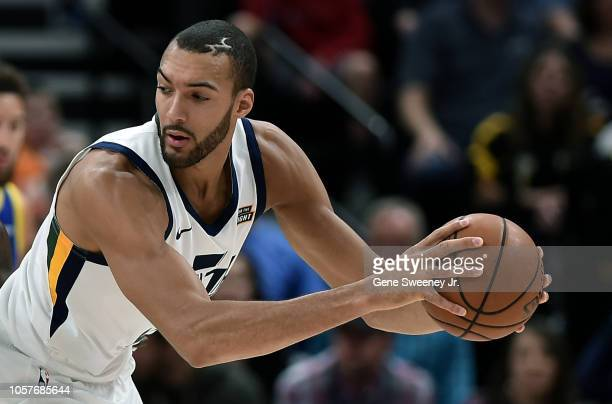 Rudy Gobert of the Utah Jazz controls the ball in a NBA game against the Golden State Warriors at Vivint Smart Home Arena on October 19 2018 in Salt...