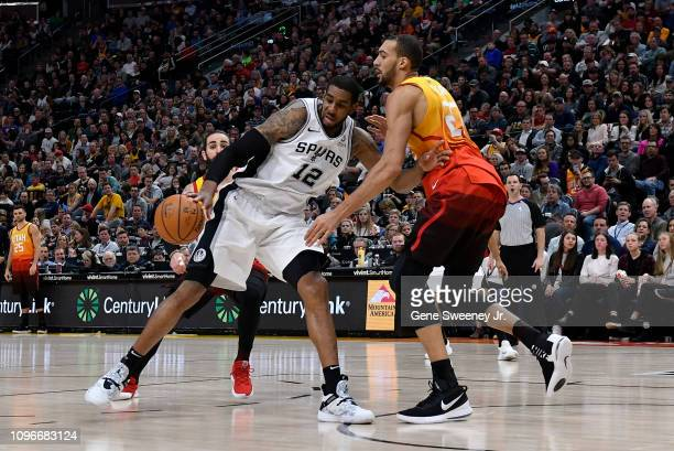 Rudy Gobert of the Utah Jazz defends against LaMarcus Aldridge of the San Antonio Spurs in the second half of a NBA game at Vivint Smart Home Arena...