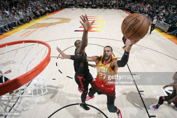 Rudy Gobert of the Utah Jazz drives to the basket against the Toronto Raptors on March 9 2020 at vivintSmartHome Arena in Salt Lake City Utah NOTE TO...