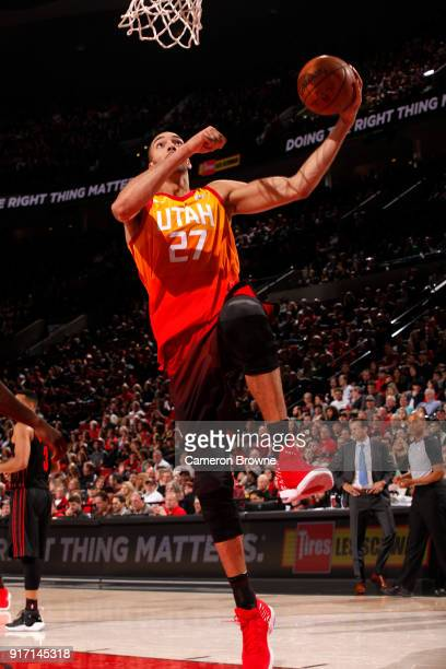 Rudy Gobert of the Utah Jazz drives to the basket against the Portland Trail Blazers on February 11 2018 at the Moda Center in Portland Oregon NOTE...
