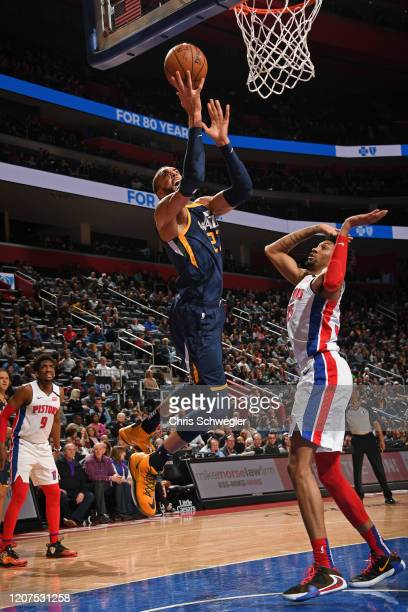 Rudy Gobert of the Utah Jazz drives to the basket during the game against the Detroit Pistons on March 7 2020 at Little Caesars Arena in Detroit...