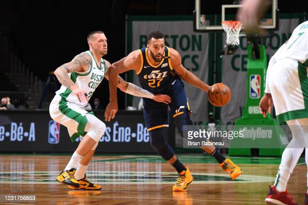 Rudy Gobert of the Utah Jazz drives to the basket during the game against the Boston Celtics on March 16, 2021 at the TD Garden in Boston,...