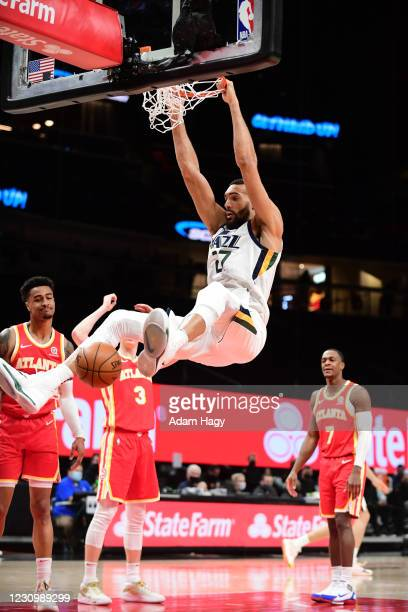 Rudy Gobert of the Utah Jazz dunk the ball against the Atlanta Hawks on February 4, 2021 at State Farm Arena in Atlanta, Georgia. NOTE TO USER: User...