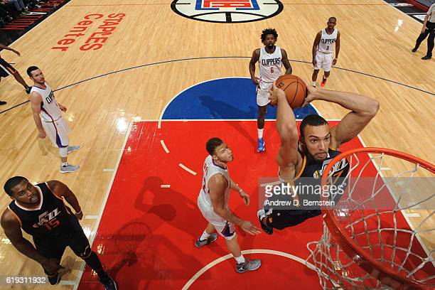 Rudy Gobert of the Utah Jazz dunks against Los Angeles Clippers on October 30 2016 at STAPLES Center in Los Angeles California NOTE TO USER User...