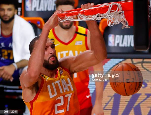 Rudy Gobert of the Utah Jazz dunks against the Denver Nuggets during the third quarter in Game Four of the Western Conference First Round during the...