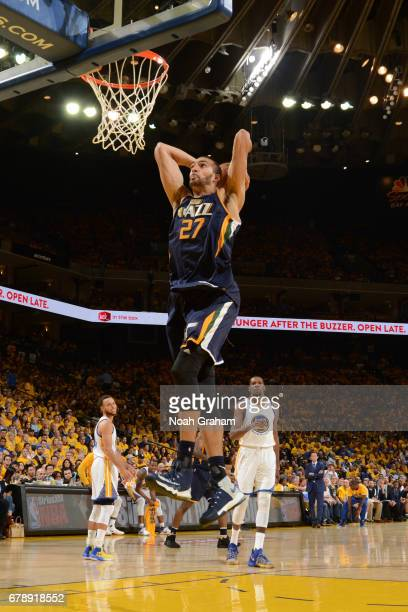 Rudy Gobert of the Utah Jazz dunks against the Golden State Warriors in Game Two the Western Conference Semifinals of the 2017 NBA Playoffs on May 4...