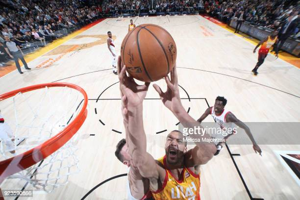 Rudy Gobert of the Utah Jazz dunks against the Portland Trail Blazers on February 23 2018 at vivintSmartHome Arena in Salt Lake City Utah NOTE TO...