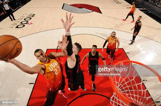 Rudy Gobert of the Utah Jazz dunks against the Portland Trail Blazers on April 11 2018 at the Moda Center in Portland Oregon NOTE TO USER User...