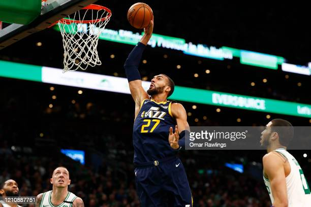 Rudy Gobert of the Utah Jazz dunks during the third quarter of the game against the Boston Celtics at TD Garden on March 06 2020 in Boston...