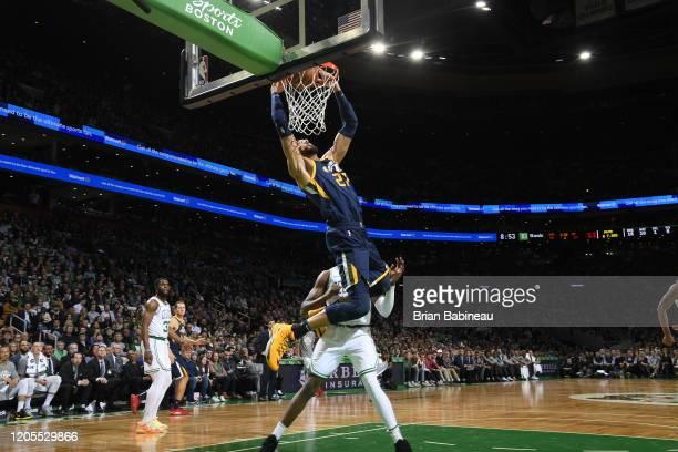 Rudy Gobert of the Utah Jazz dunks the ball against the Boston Celtics on March 6 2020 at the TD Garden in Boston Massachusetts NOTE TO USER User...