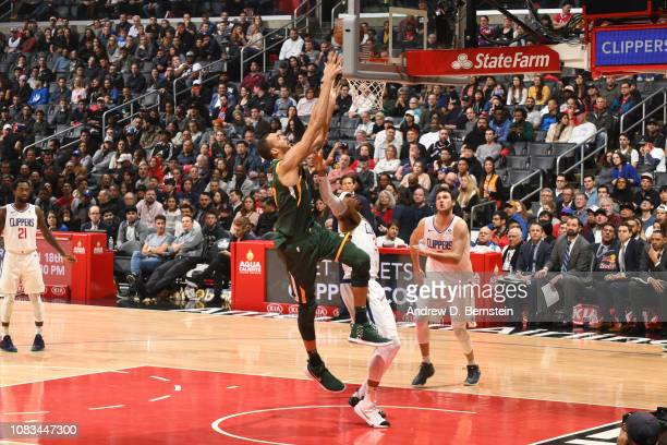 Rudy Gobert of the Utah Jazz dunks the ball against the LA Clippers on January 16 2019 at STAPLES Center in Los Angeles California NOTE TO USER User...