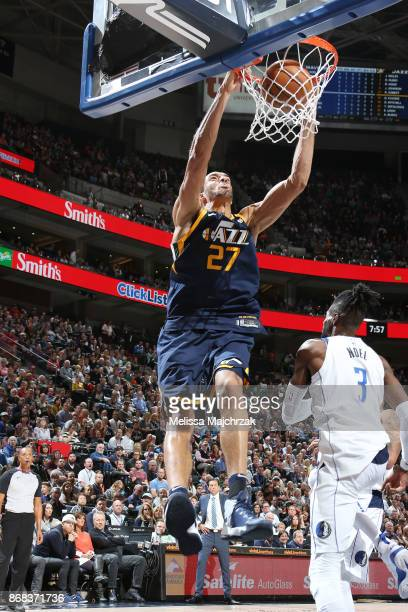 Rudy Gobert of the Utah Jazz dunks the ball against the Dallas Mavericks on October 30 2017 at Vivint Smart Home Arena in Salt Lake City Utah NOTE TO...