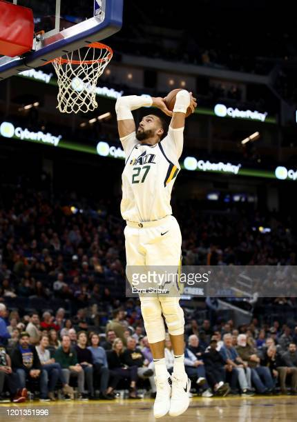 Rudy Gobert of the Utah Jazz dunks the ball against the Golden State Warriors at Chase Center on January 22 2020 in San Francisco California NOTE TO...