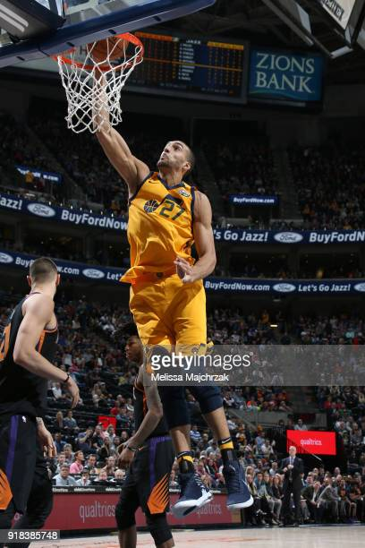 Rudy Gobert of the Utah Jazz dunks the ball against the Phoenix Suns on February 14 2018 at Vivint Smart Home Arena in Salt Lake City Utah NOTE TO...