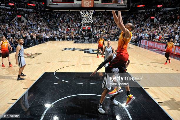 Rudy Gobert of the Utah Jazz dunks the ball against the San Antonio Spurs on March 23 2018 at the ATT Center in San Antonio Texas NOTE TO USER User...