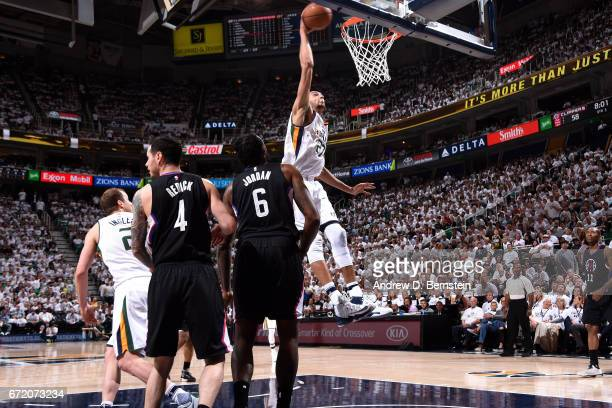 Rudy Gobert of the Utah Jazz dunks the ball during the game against the LA Clippers in Game Four during the Western Conference Quarterfinals of the...