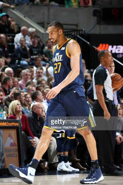 Rudy Gobert of the Utah Jazz exits the court during the game against the Dallas Mavericks on October 30 2017 at Vivint Smart Home Arena in Salt Lake...