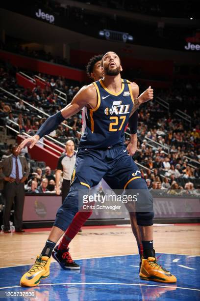 Rudy Gobert of the Utah Jazz fights for position against the Detroit Pistons on March 7 2020 at Little Caesars Arena in Detroit Michigan NOTE TO USER...
