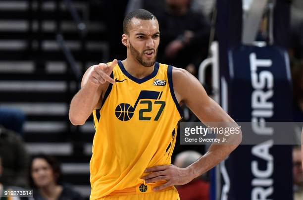 Rudy Gobert of the Utah Jazz gestures during a game against the Phoenix Suns at Vivint Smart Home Arena on February 14 2018 in Salt Lake City Utah...