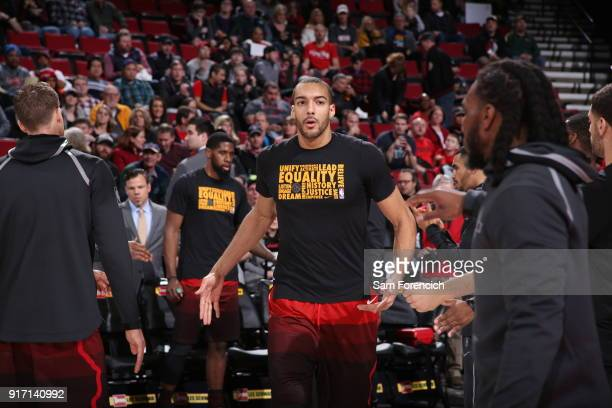 Rudy Gobert of the Utah Jazz gets introduced before the game against the Portland Trail Blazers on February 11 2018 at the Moda Center in Portland...