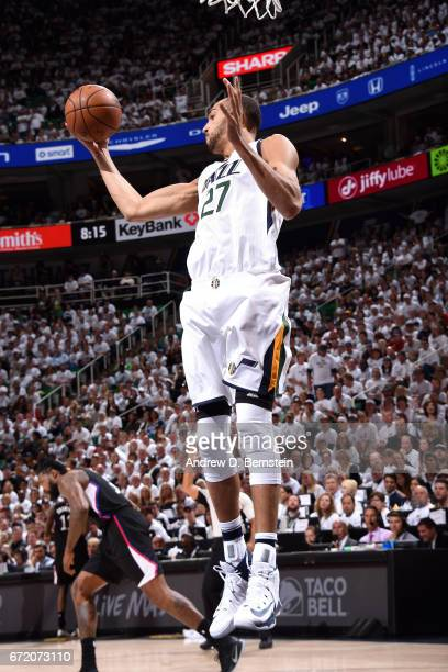 Rudy Gobert of the Utah Jazz gets the rebound during the game against the LA Clippers in Game Four during the Western Conference Quarterfinals of the...