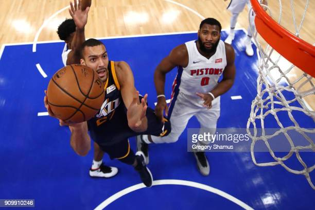 Rudy Gobert of the Utah Jazz gets to the basket past Andre Drummond of the Detroit Pistons during the second half at Little Caesars Arena on January...