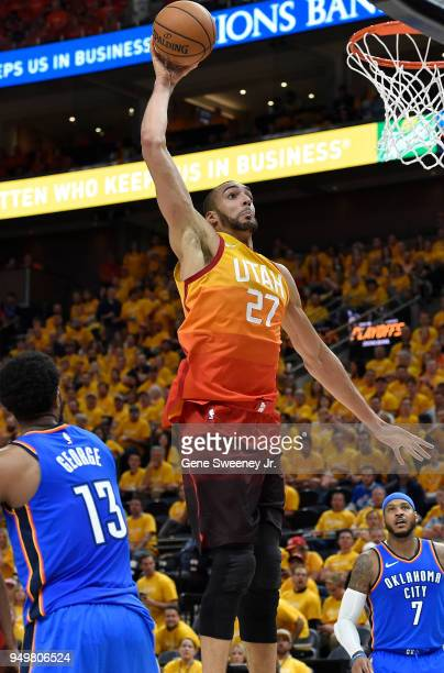 Rudy Gobert of the Utah Jazz goes for a basket in the second half during Game Three of Round One of the 2018 NBA Playoffs against the Oklahoma City...