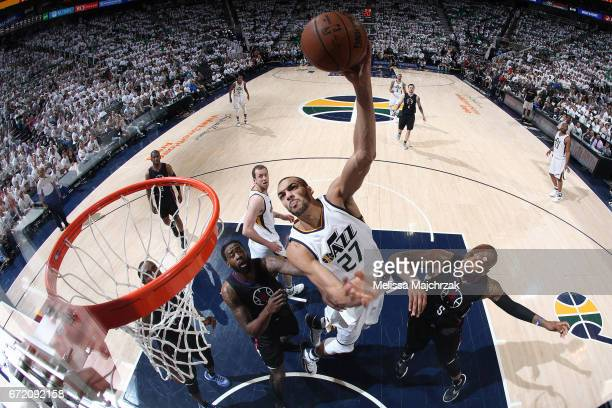Rudy Gobert of the Utah Jazz goes to the basket against the LA Clippers during Game Four of the Western Conference Quarterfinals of the 2017 NBA...